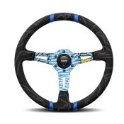 MOMO Ultra Black Steering Wheel Blue Insert